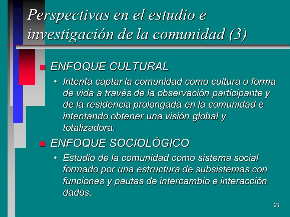 Perspectivas en el estudio e investigación de la comunidad (3)