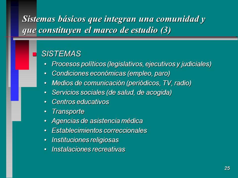 Sistemas básicos que integran una comunidad y que constituyen el marco de estudio (3)