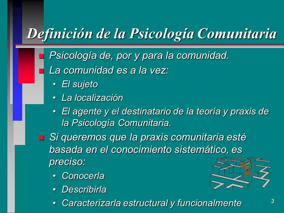 Definición de la Psicología Comunitaria