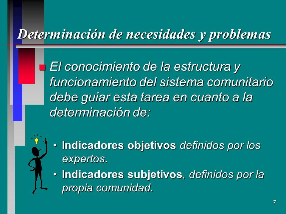 Determinación de necesidades y problemas