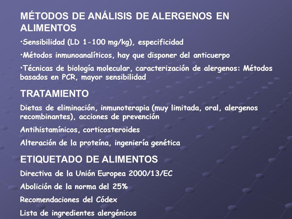 MÉTODOS DE ANÁLISIS DE ALERGENOS EN ALIMENTOS