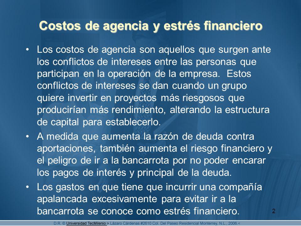 Costos de agencia y estrés financiero