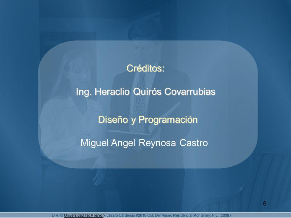 Créditos: Ing. Heraclio Quirós Covarrubias