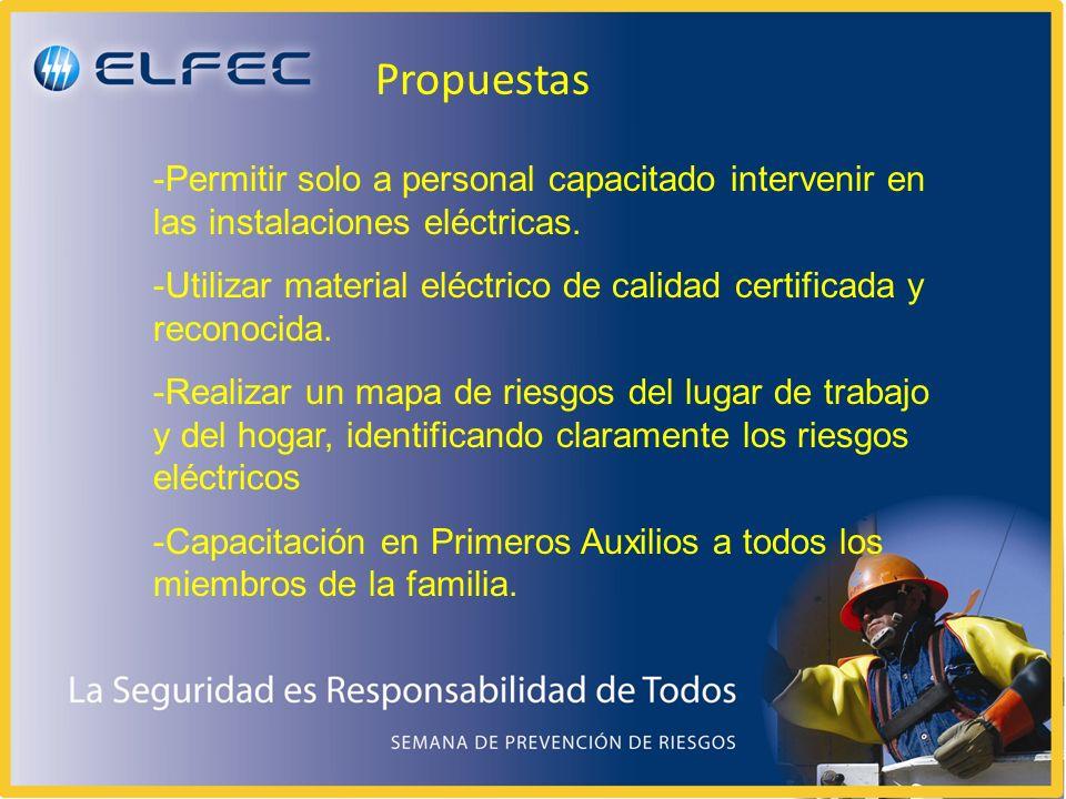 Propuestas Permitir solo a personal capacitado intervenir en las instalaciones eléctricas.