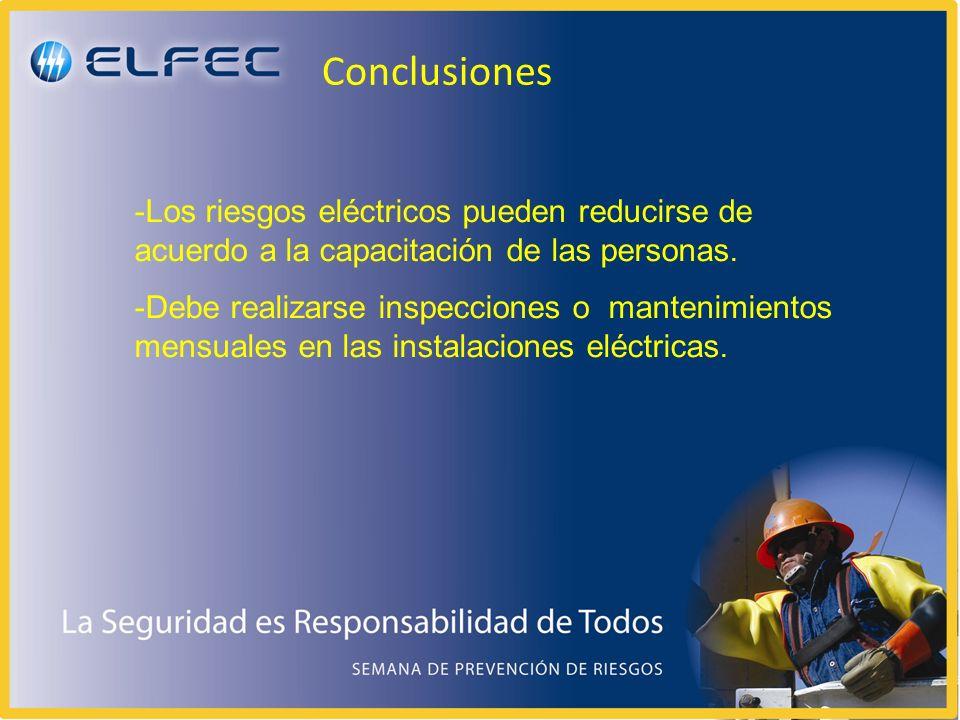 Conclusiones Los riesgos eléctricos pueden reducirse de acuerdo a la capacitación de las personas.
