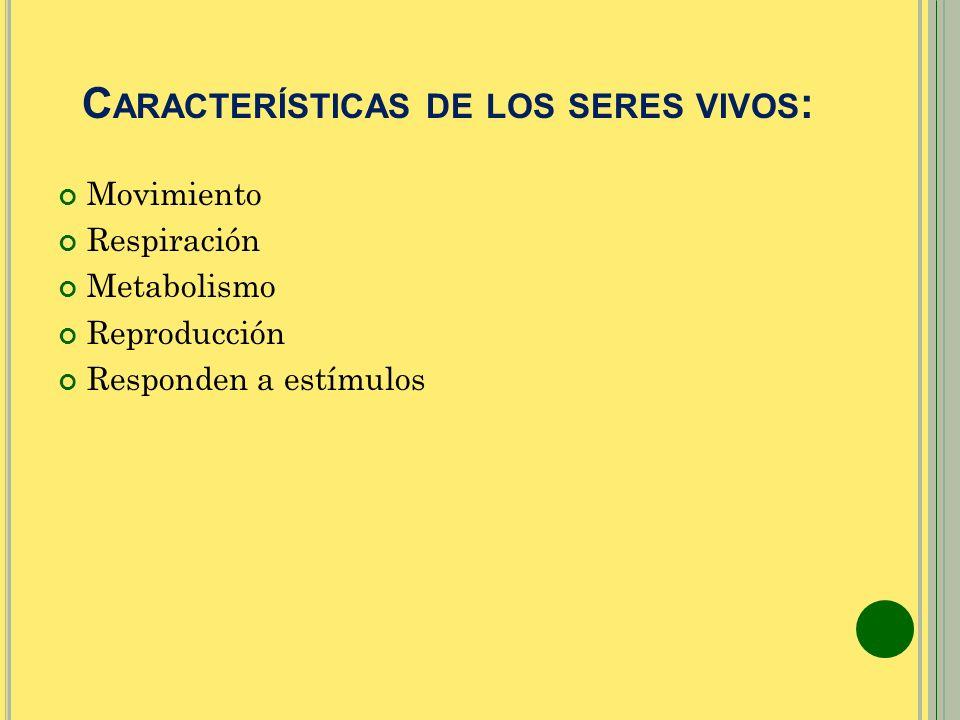 Características de los seres vivos: