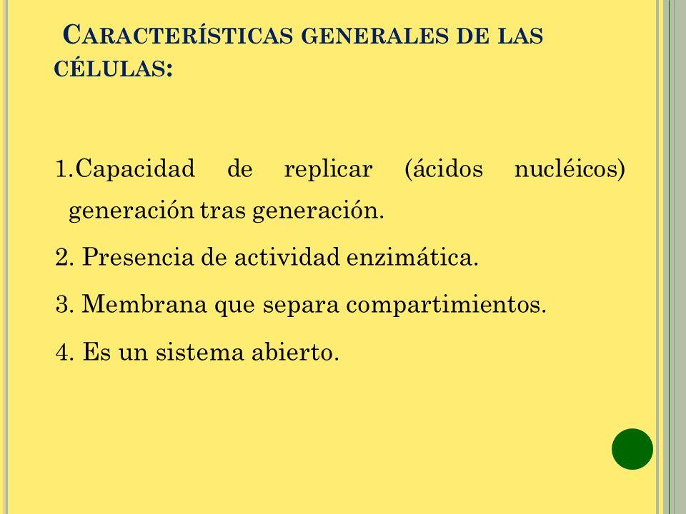 Características generales de las células: