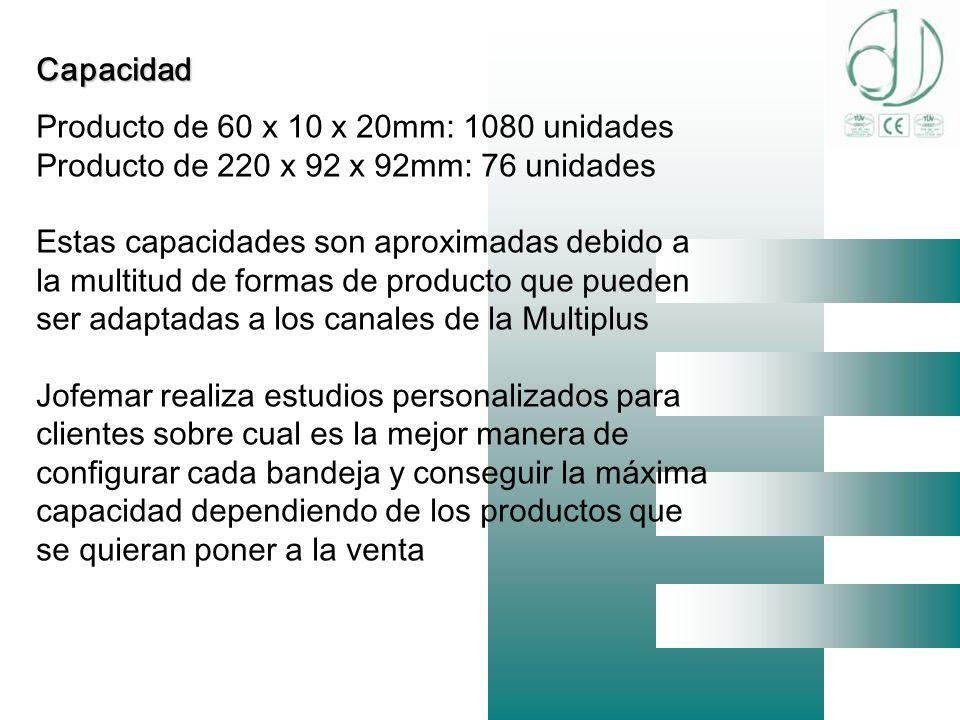 Capacidad Producto de 60 x 10 x 20mm: 1080 unidades. Producto de 220 x 92 x 92mm: 76 unidades.