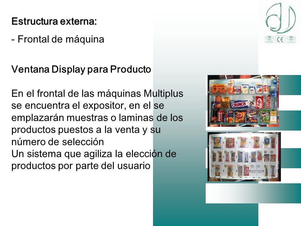 Estructura externa: Frontal de máquina. Ventana Display para Producto.