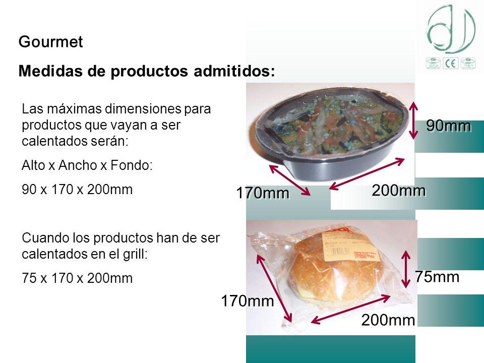 Medidas de productos admitidos: