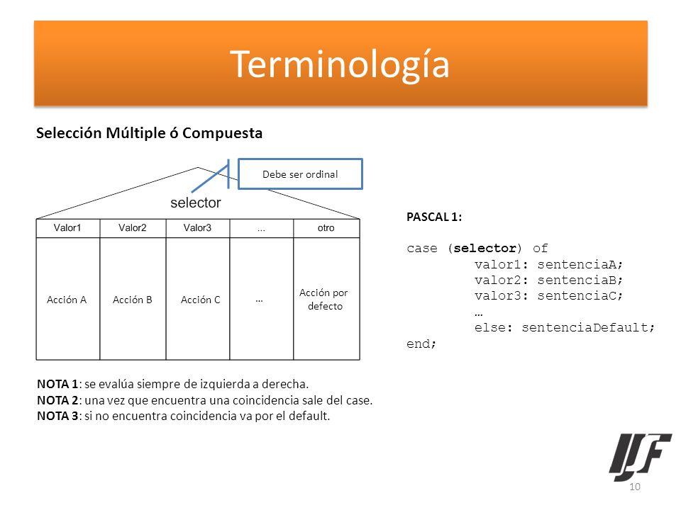 Terminología Selección Múltiple ó Compuesta PASCAL 1: