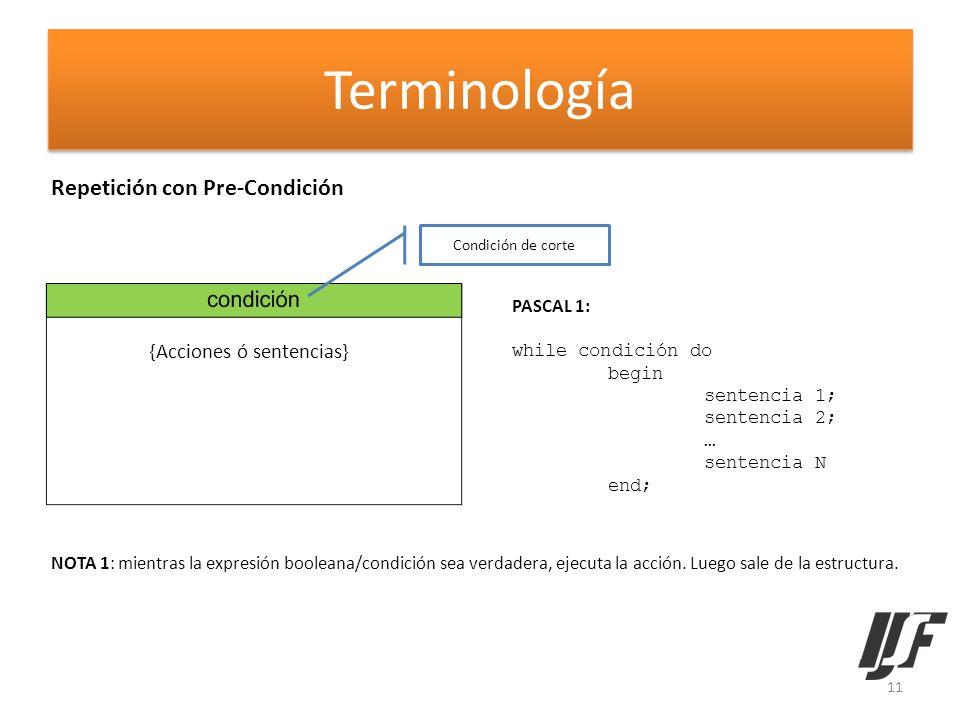 Terminología Repetición con Pre-Condición {Acciones ó sentencias}
