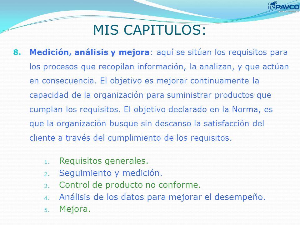MIS CAPITULOS: Requisitos generales. Seguimiento y medición.