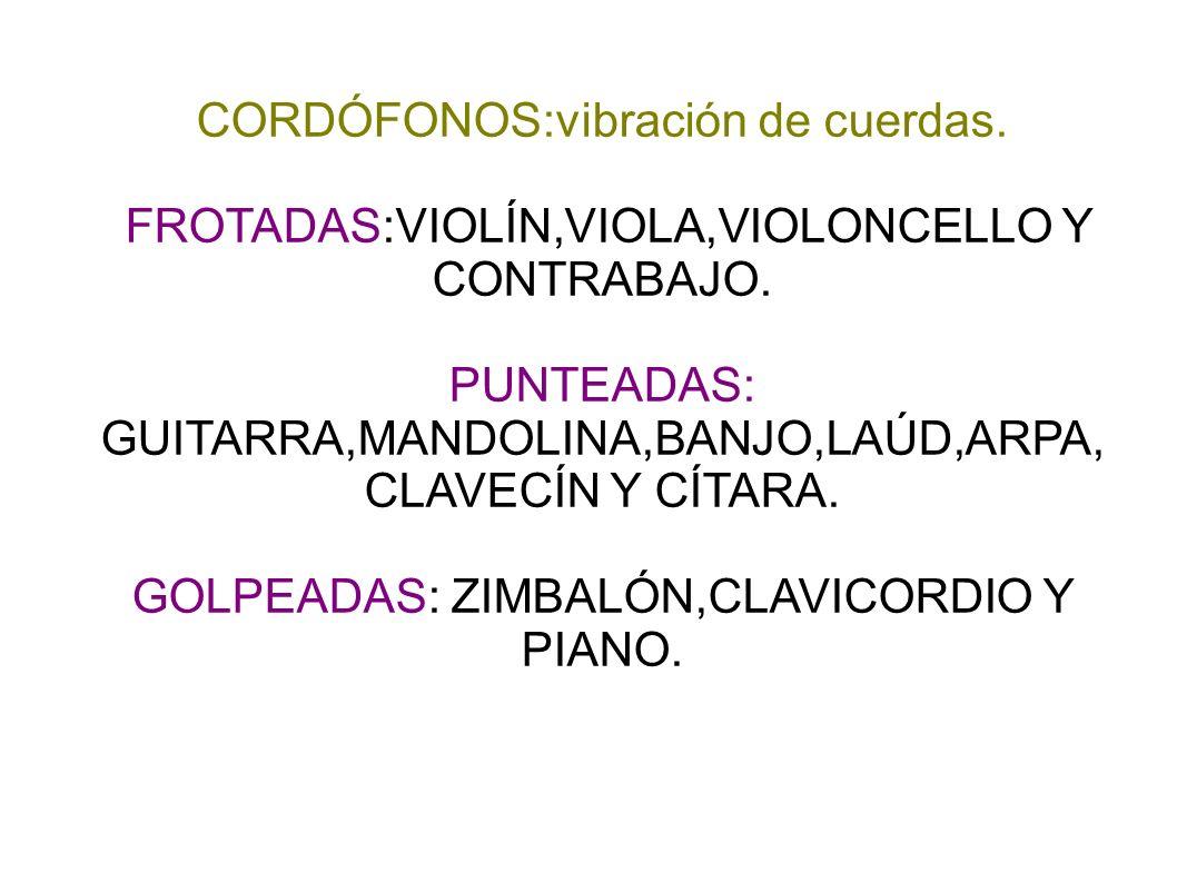 CORDÓFONOS:vibración de cuerdas.