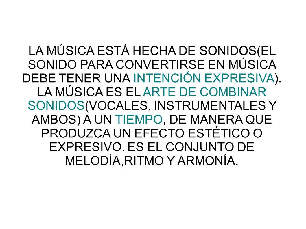 LA MÚSICA ESTÁ HECHA DE SONIDOS(EL SONIDO PARA CONVERTIRSE EN MÚSICA DEBE TENER UNA INTENCIÓN EXPRESIVA).