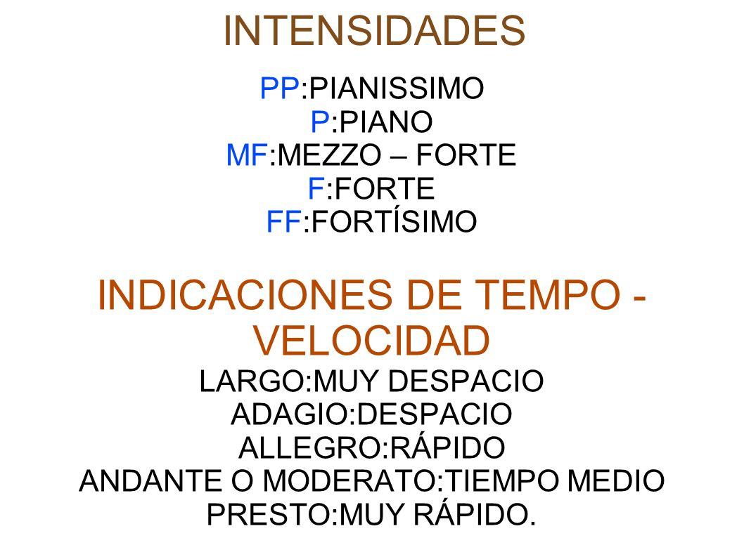 INDICACIONES DE TEMPO - VELOCIDAD
