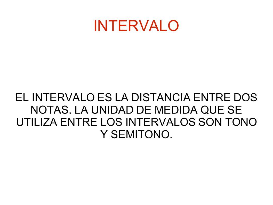 INTERVALOEL INTERVALO ES LA DISTANCIA ENTRE DOS NOTAS.