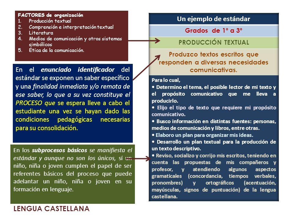 Un ejemplo de estándar LENGUA CASTELLANA