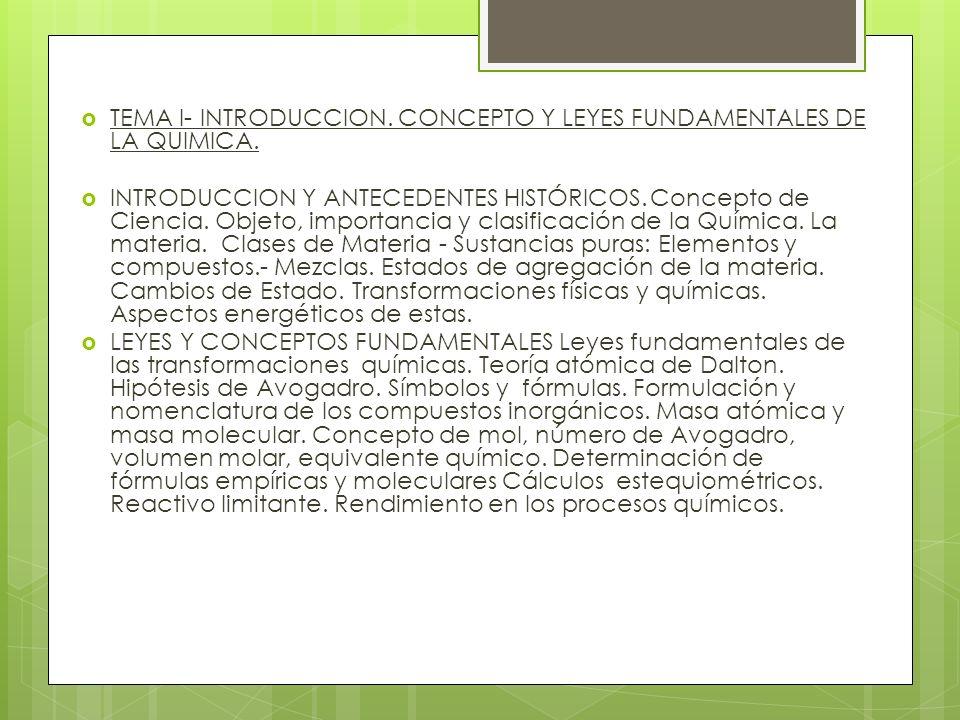 TEMA I- INTRODUCCION. CONCEPTO Y LEYES FUNDAMENTALES DE LA QUIMICA.