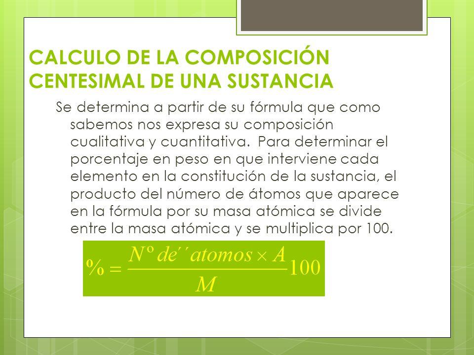 CALCULO DE LA COMPOSICIÓN CENTESIMAL DE UNA SUSTANCIA