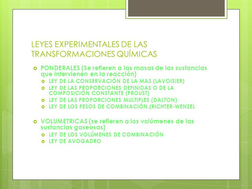 LEYES EXPERIMENTALES DE LAS TRANSFORMACIONES QUÍMICAS