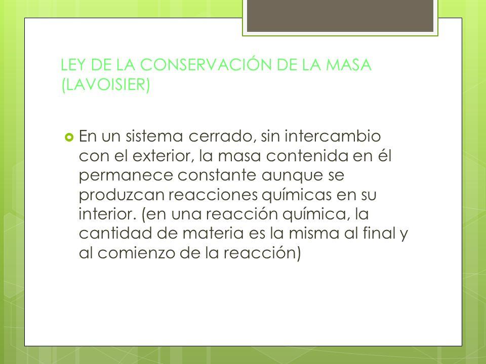 LEY DE LA CONSERVACIÓN DE LA MASA (LAVOISIER)
