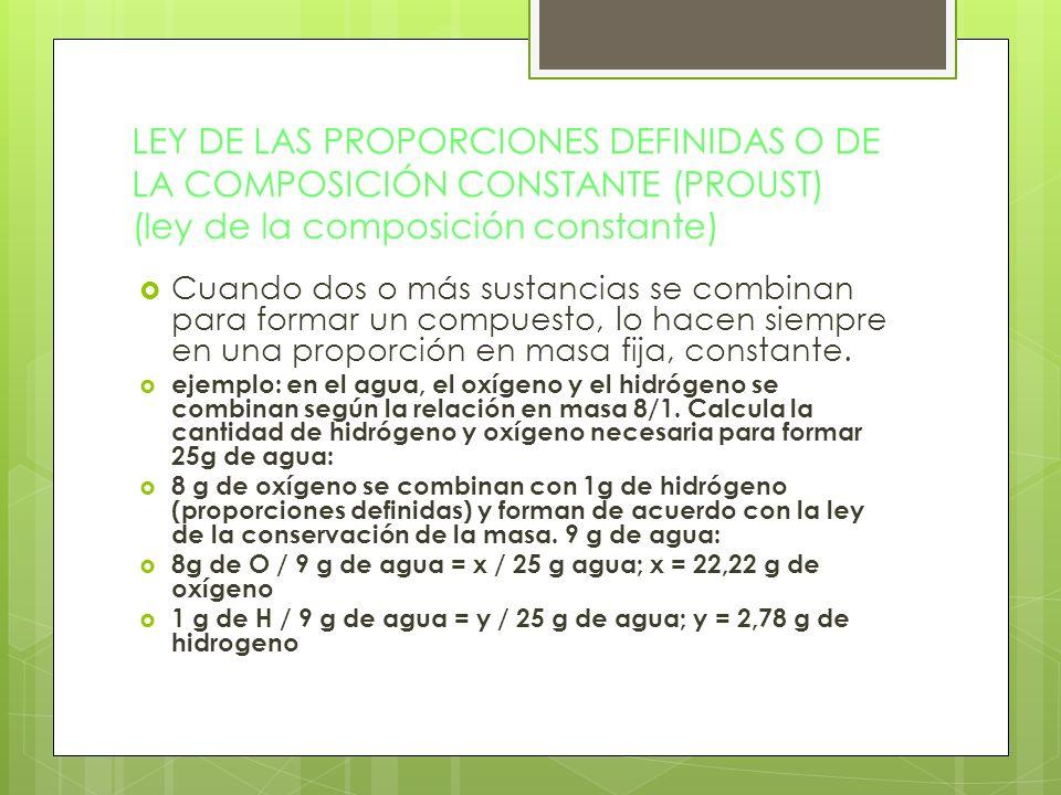 LEY DE LAS PROPORCIONES DEFINIDAS O DE LA COMPOSICIÓN CONSTANTE (PROUST) (ley de la composición constante)