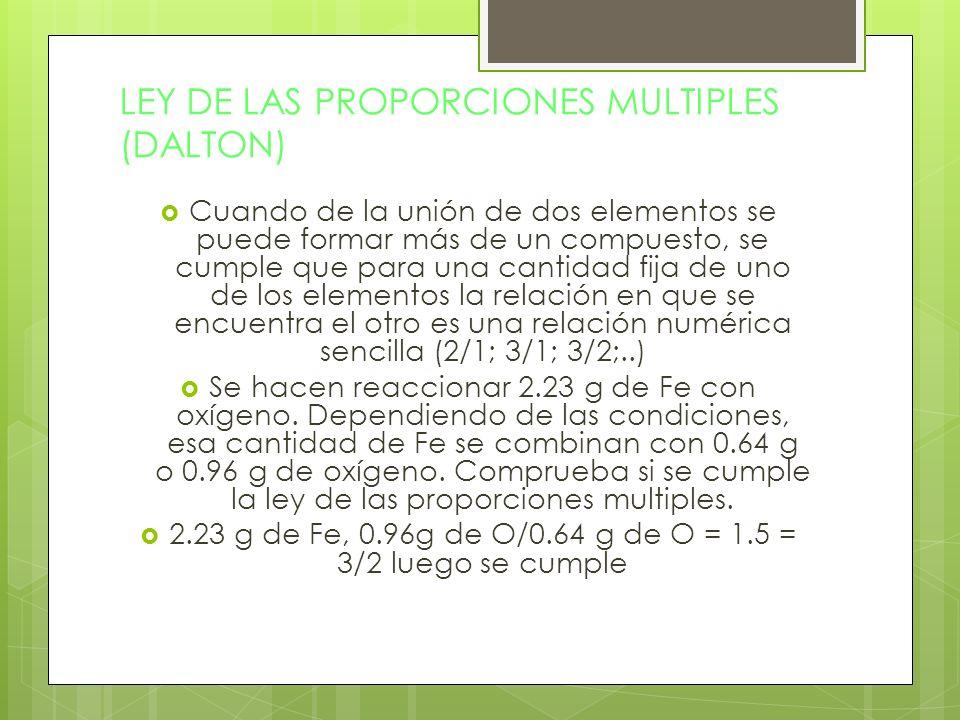 LEY DE LAS PROPORCIONES MULTIPLES (DALTON)