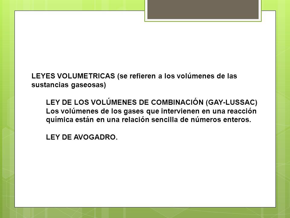 LEYES VOLUMETRICAS (se refieren a los volúmenes de las sustancias gaseosas)