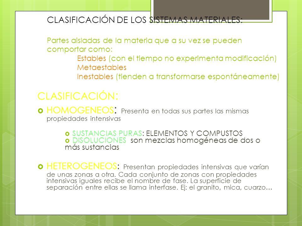 CLASIFICACIÓN DE LOS SISTEMAS MATERIALES: Partes aisladas de la materia que a su vez se pueden comportar como: Estables (con el tiempo no experimenta modificación) Metaestables Inestables (tienden a transformarse espontáneamente)