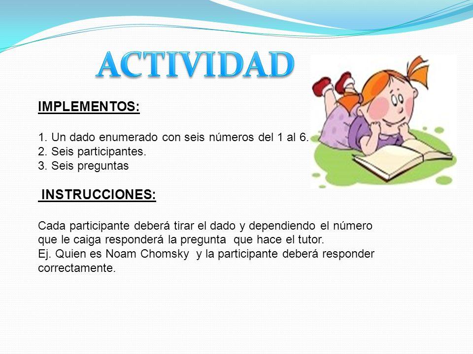 ACTIVIDAD IMPLEMENTOS: INSTRUCCIONES: