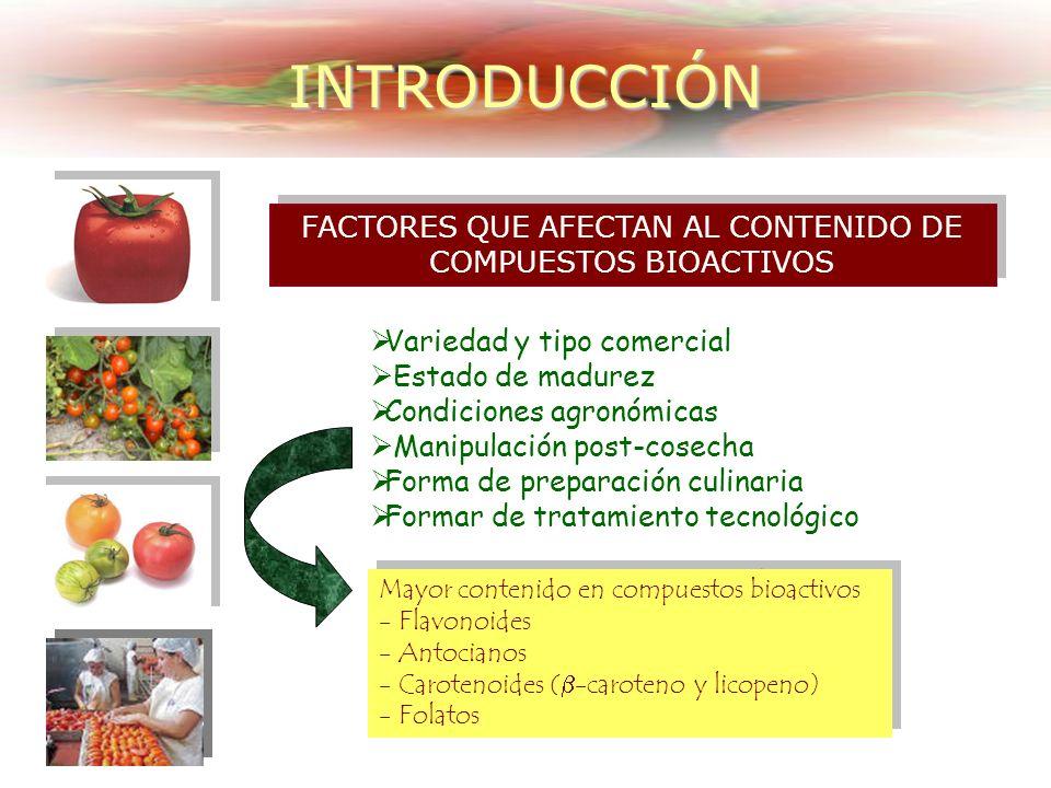 FACTORES QUE AFECTAN AL CONTENIDO DE COMPUESTOS BIOACTIVOS