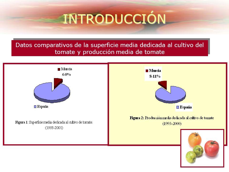 INTRODUCCIÓN Datos comparativos de la superficie media dedicada al cultivo del tomate y producción media de tomate.