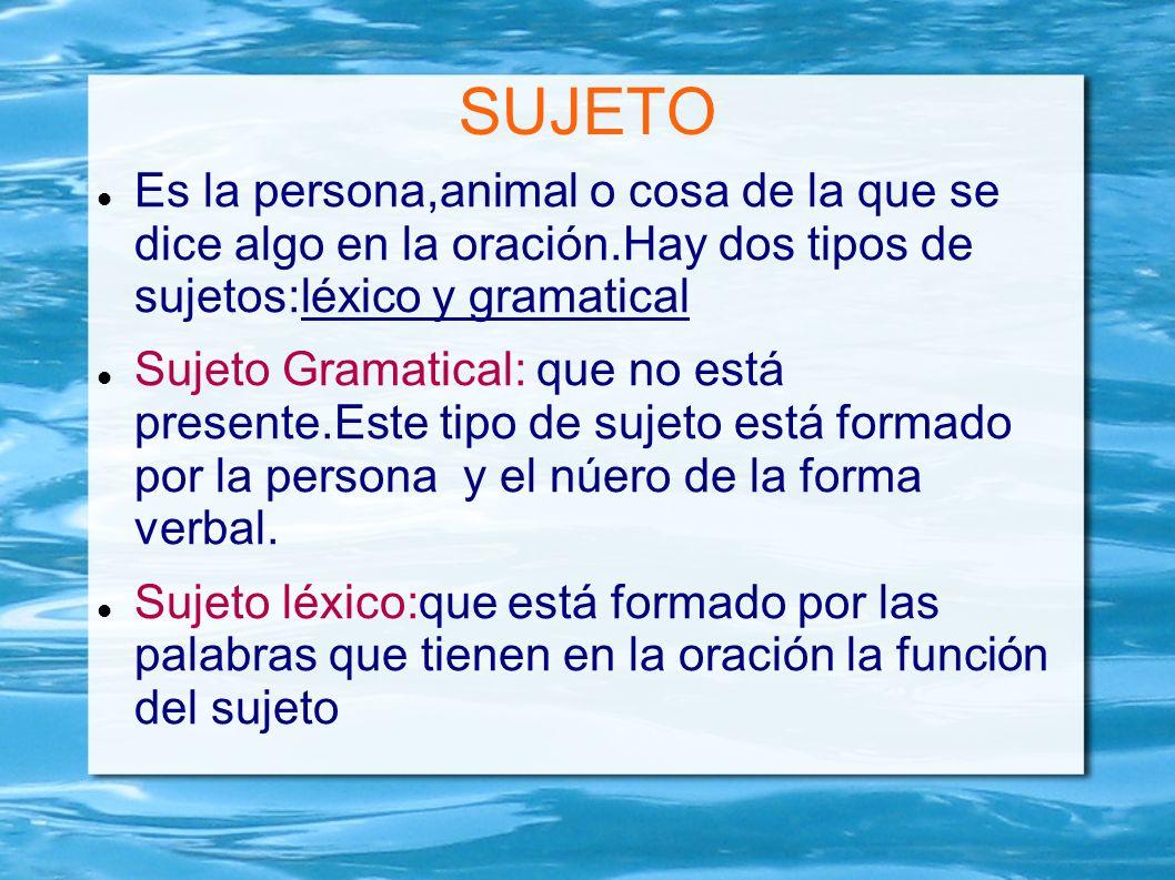 SUJETO Es la persona,animal o cosa de la que se dice algo en la oración.Hay dos tipos de sujetos:léxico y gramatical.