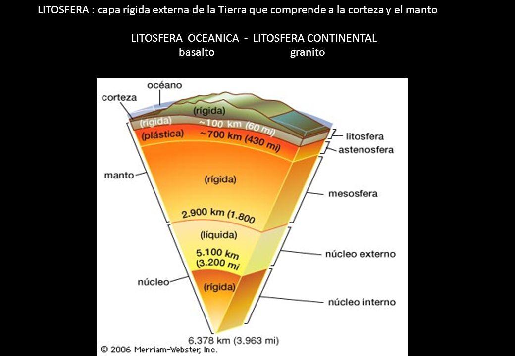 LITOSFERA : capa rígida externa de la Tierra que comprende a la corteza y el manto