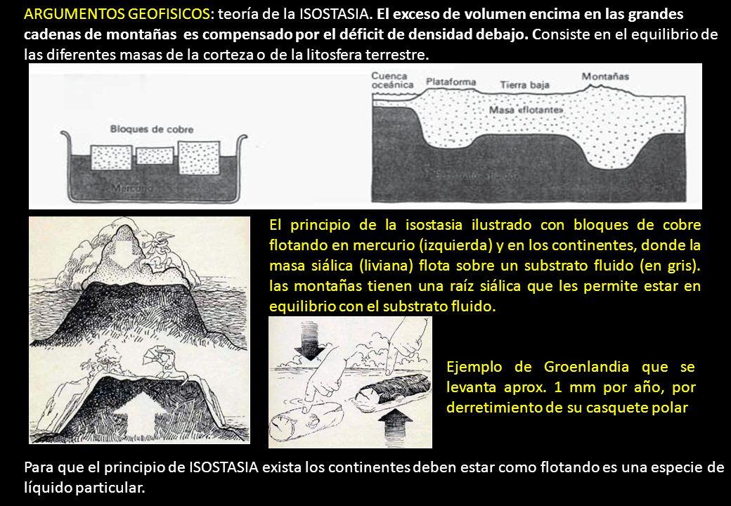 ARGUMENTOS GEOFISICOS: teoría de la ISOSTASIA