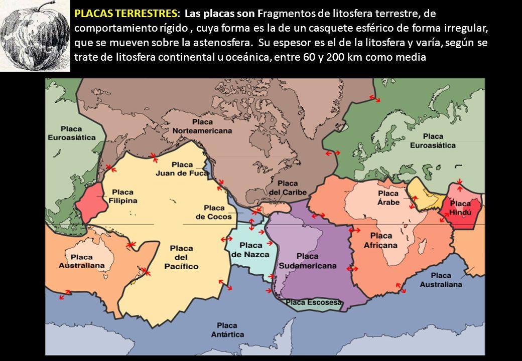 PLACAS TERRESTRES: Las placas son Fragmentos de litosfera terrestre, de comportamiento rígido , cuya forma es la de un casquete esférico de forma irregular, que se mueven sobre la astenosfera.