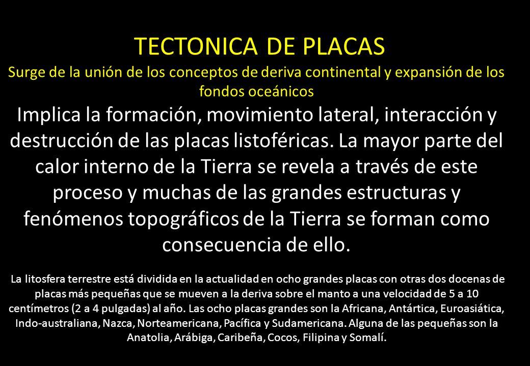 TECTONICA DE PLACAS Surge de la unión de los conceptos de deriva continental y expansión de los fondos oceánicos.