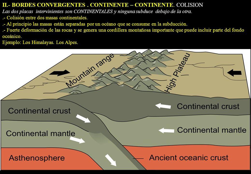 II.- BORDES CONVERGENTES . CONTINENTE – CONTINENTE. COLISION