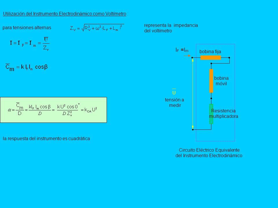 IF =Im Utilización del Instrumento Electrodinámico como Voltímetro :