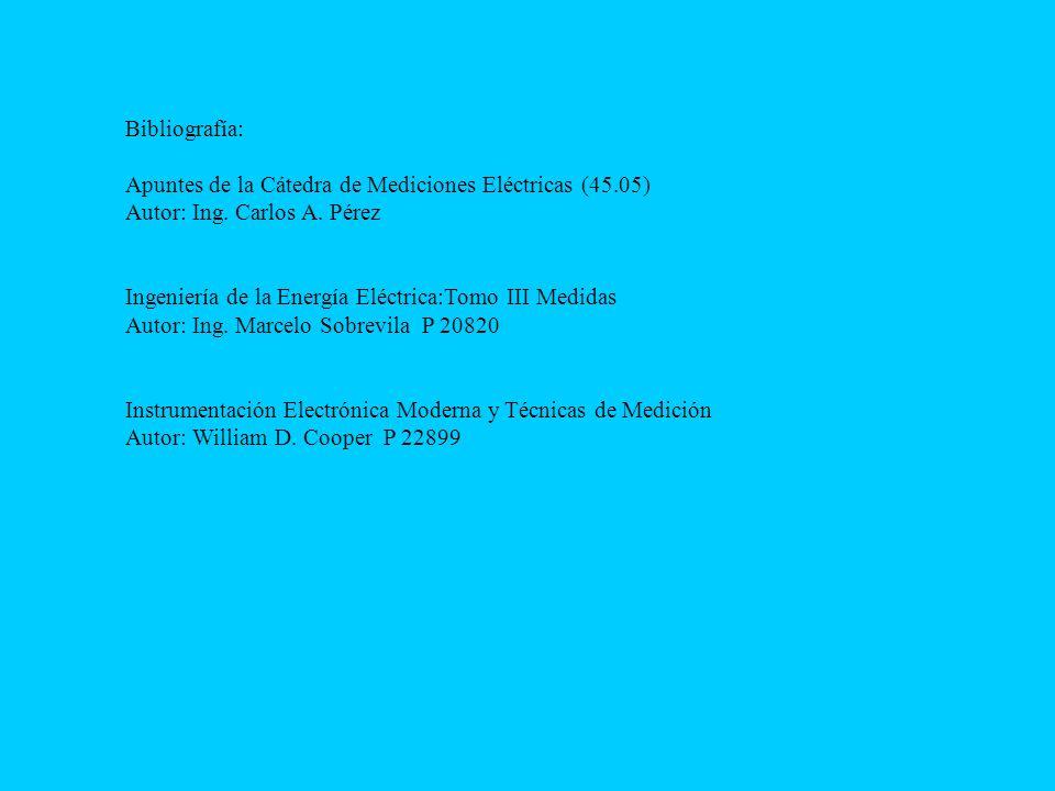 Bibliografía: Apuntes de la Cátedra de Mediciones Eléctricas (45.05) Autor: Ing. Carlos A. Pérez.