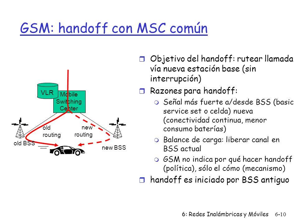 GSM: handoff con MSC común