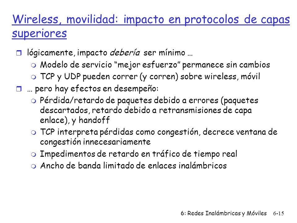 Wireless, movilidad: impacto en protocolos de capas superiores
