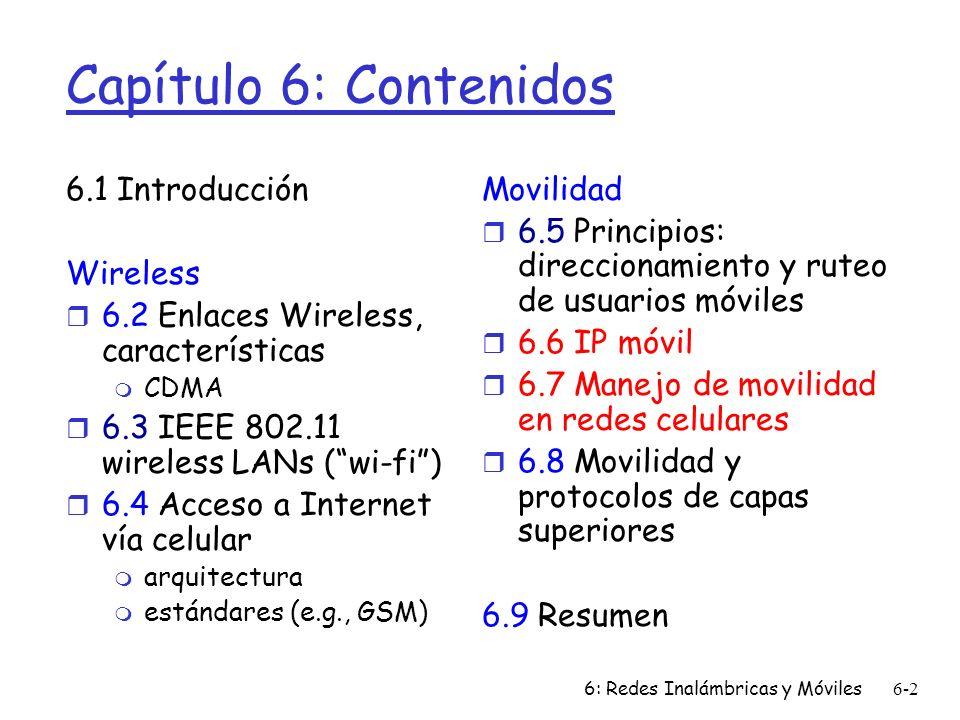 Capítulo 6: Contenidos 6.1 Introducción Wireless
