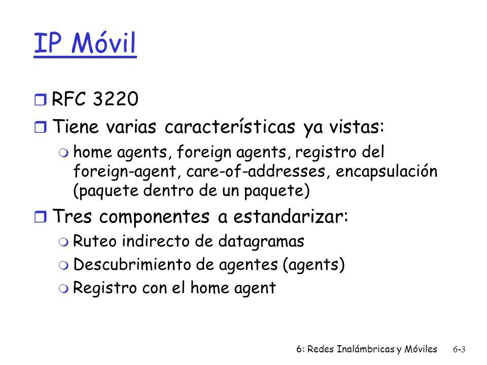 IP Móvil RFC 3220 Tiene varias características ya vistas:
