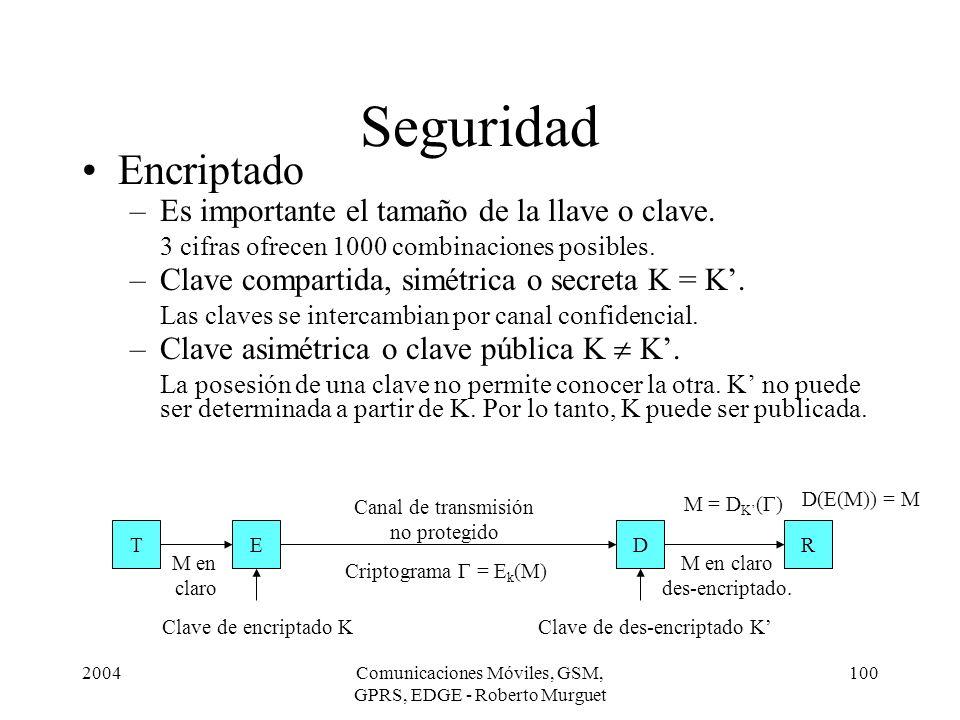 Seguridad Encriptado Es importante el tamaño de la llave o clave.