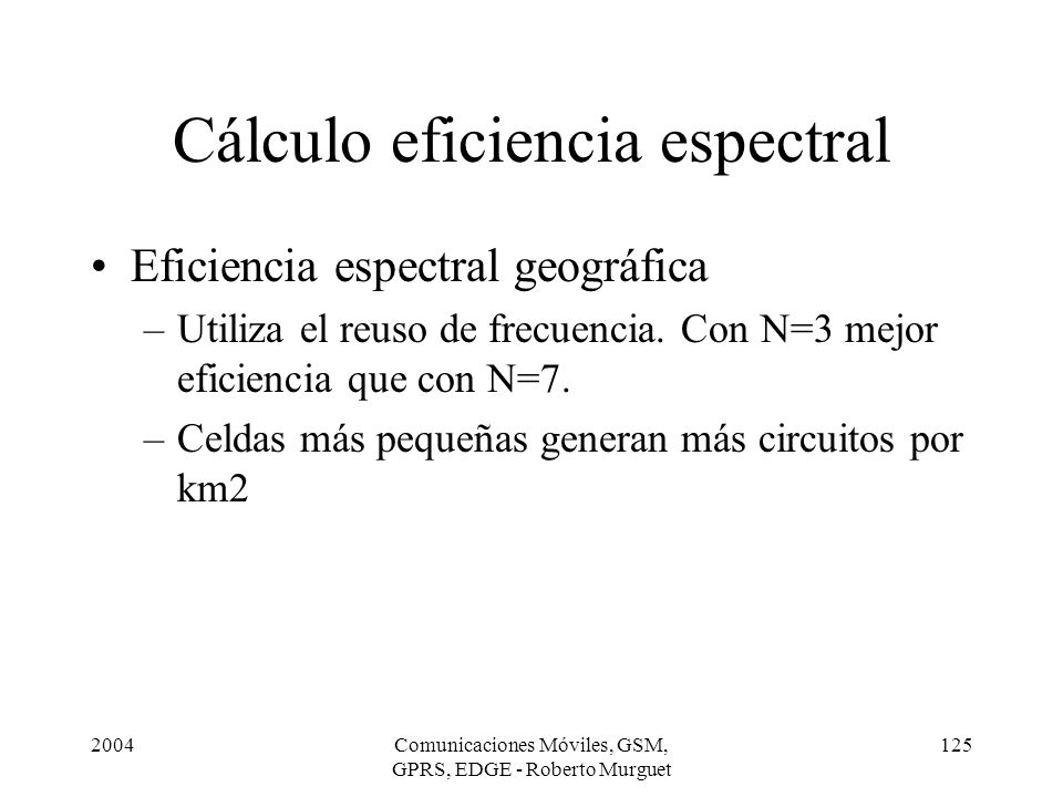 Cálculo eficiencia espectral
