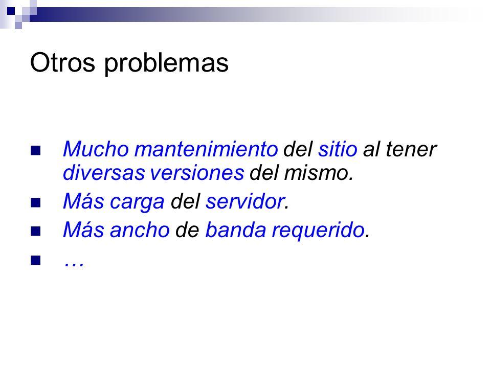 Otros problemas Mucho mantenimiento del sitio al tener diversas versiones del mismo. Más carga del servidor.