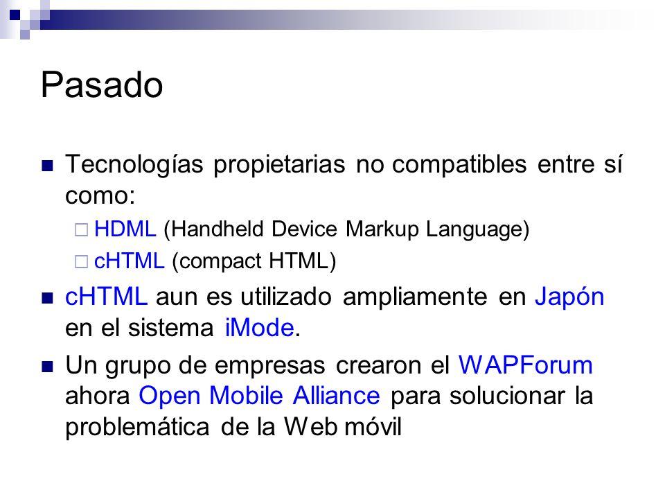 Pasado Tecnologías propietarias no compatibles entre sí como: