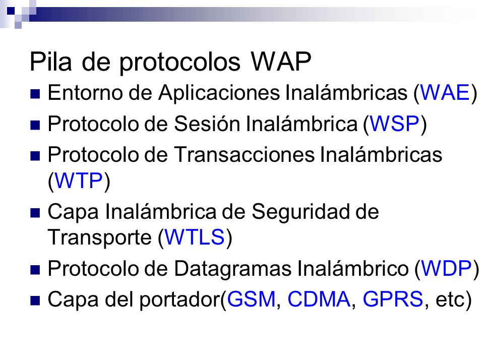 Pila de protocolos WAP Entorno de Aplicaciones Inalámbricas (WAE)